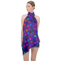 Squares Square Background Abstract Halter Asymmetric Satin Top by Alisyart