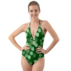 Seamless Paprica Halter Cut Out One Piece Swimsuit