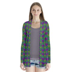 In Love With Festive Hearts Drape Collar Cardigan by pepitasart