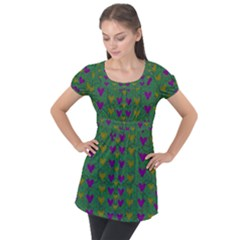 In Love With Festive Hearts Puff Sleeve Tunic Top by pepitasart