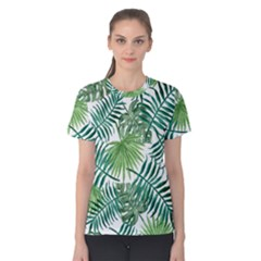 Green Tropical Leaves Women s Cotton Tee by goljakoff