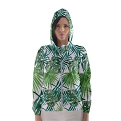 Green Tropical Leaves Hooded Windbreaker (women) by goljakoff