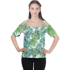 Green Tropical Leaves Cutout Shoulder Tee by goljakoff