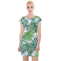 Green Tropical Leaves Cap Sleeve Bodycon Dress by goljakoff
