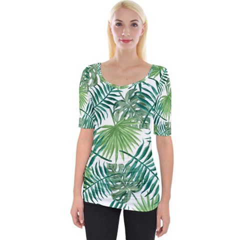 Green Tropical Leaves Wide Neckline Tee by goljakoff