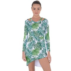 Green Tropical Leaves Asymmetric Cut Out Shift Dress by goljakoff