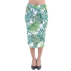 Green Tropical Leaves Velvet Midi Pencil Skirt by goljakoff