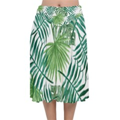 Green Tropical Leaves Velvet Flared Midi Skirt by goljakoff
