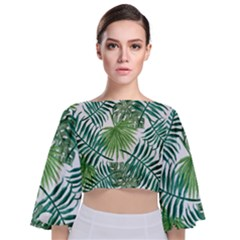 Green Tropical Leaves Tie Back Butterfly Sleeve Chiffon Top by goljakoff