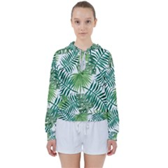 Green Tropical Leaves Women s Tie Up Sweat by goljakoff