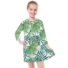 Green Tropical Leaves Kids  Quarter Sleeve Shirt Dress by goljakoff