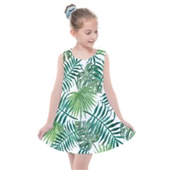 Green Tropical Leaves Kids  Summer Dress by goljakoff