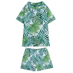 Green Tropical Leaves Kids  Swim Tee And Shorts Set by goljakoff