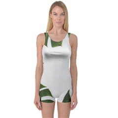 Green Leaves One Piece Boyleg Swimsuit by goljakoff