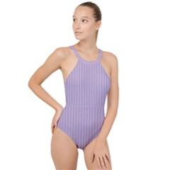 Simple Stripes  High Neck One Piece Swimsuit