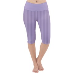 Simple Stripes  Lightweight Velour Cropped Yoga Leggings by TimelessFashion