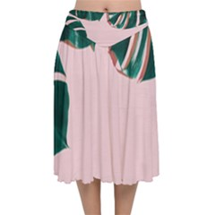 Green Monstera Velvet Flared Midi Skirt by goljakoff