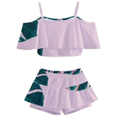 Green Monstera Kids  Off Shoulder Skirt Bikini