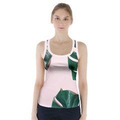 Green Monstera Racer Back Sports Top