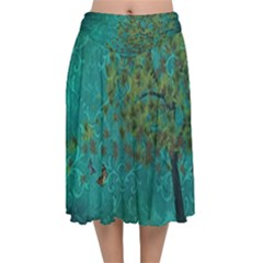 Tree In The Wind Velvet Flared Midi Skirt by WensdaiAddamns