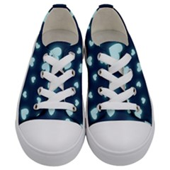 Light Blue Hearts Kids  Low Top Canvas Sneakers