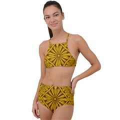 Pattern Petals Pipes Plants Gold High Waist Tankini Set by Jojostore