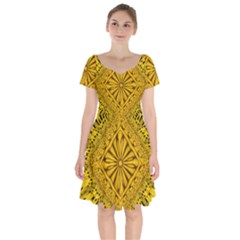 Pattern Petals Pipes Plants Gold Short Sleeve Bardot Dress by Jojostore