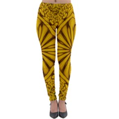 Pattern Petals Pipes Plants Gold Lightweight Velour Leggings
