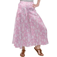 Pink Floral Background Satin Palazzo Pants by Jojostore