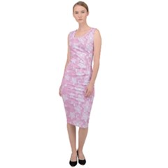 Pink Floral Background Sleeveless Pencil Dress