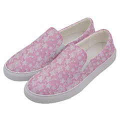 Pink Floral Background Men s Canvas Slip Ons by Jojostore