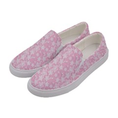 Pink Floral Background Women s Canvas Slip Ons by Jojostore