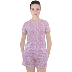 Pink Floral Background Women s Tee And Shorts Set by Jojostore