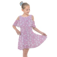 Pink Floral Background Kids  Shoulder Cutout Chiffon Dress by Jojostore