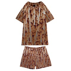 Rust Rusty Metal Iron Old Rusted Kids  Swim Tee And Shorts Set