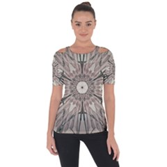 Digital Art Space Shoulder Cut Out Short Sleeve Top by Mariart
