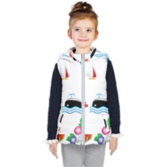 Summer Dolphin Whale Kids  Hooded Puffer Vest