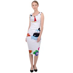 Summer Dolphin Whale Sleeveless Pencil Dress