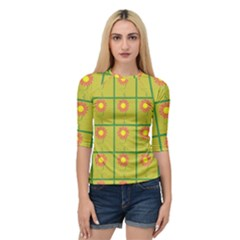 Sunflower Pattern Quarter Sleeve Raglan Tee by Alisyart