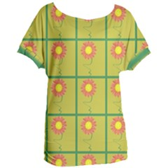 Sunflower Pattern Women s Oversized Tee by Alisyart