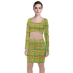 Sunflower Pattern Top And Skirt Sets by Alisyart
