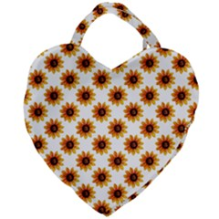 Sunflower Digital Paper Yellow Giant Heart Shaped Tote by AnjaniArt