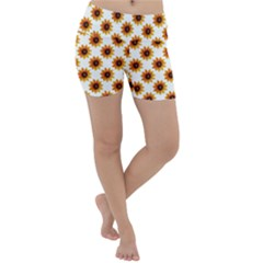 Sunflower Digital Paper Yellow Lightweight Velour Yoga Shorts by AnjaniArt