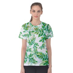 Leaves Green Pattern Nature Plant Women s Cotton Tee
