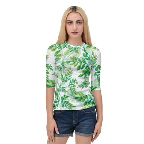 Leaves Green Pattern Nature Plant Quarter Sleeve Raglan Tee by AnjaniArt