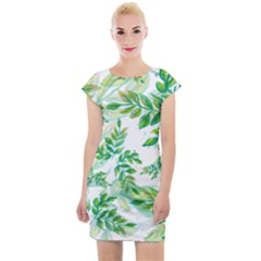 Leaves Green Pattern Nature Plant Cap Sleeve Bodycon Dress by AnjaniArt