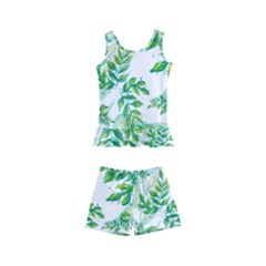 Leaves Green Pattern Nature Plant Kids  Boyleg Swimsuit by AnjaniArt