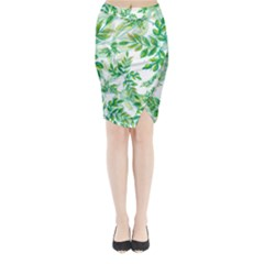 Leaves Green Pattern Nature Plant Midi Wrap Pencil Skirt by AnjaniArt