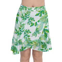 Leaves Green Pattern Nature Plant Chiffon Wrap Front Skirt