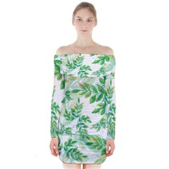 Leaves Green Pattern Nature Plant Long Sleeve Off Shoulder Dress by AnjaniArt